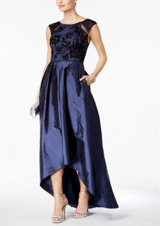 Adrianna Papell Embellished Taffeta High-Low Gown