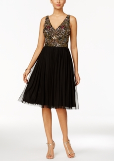 Adrianna Papell Embellished Tulle A-Line Dress