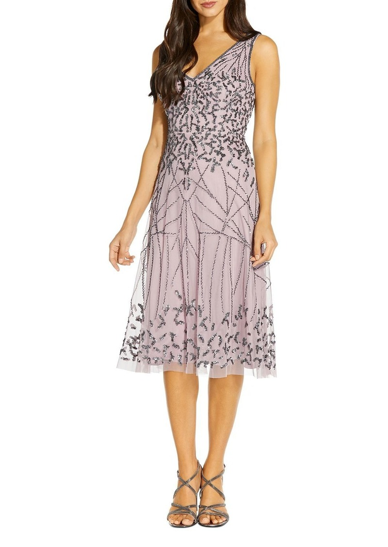 Adrianna Papell Embellished Tulle Fit-and-Flare Dress - 100% Exclusive