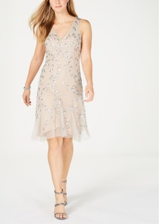 Adrianna Papell Embellished V-Neck Sheath Dress
