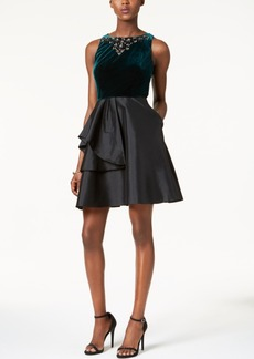 Adrianna Papell Embellished Velvet & Taffeta Dress