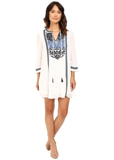 Adrianna Papell Embroidered 3/4 Sleeve Tunic Dress