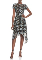 Adrianna Papell Embroidered Asymmetrical Dress