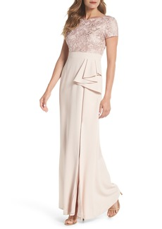 Adrianna Papell Embroidered Bodice Mermaid Gown