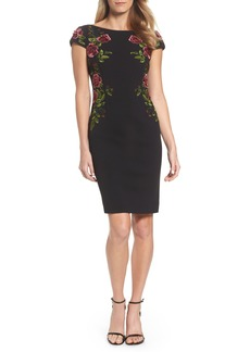 Adrianna Papell Embroidered Crepe Sheath Dress