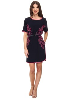 Adrianna Papell Embroidered Crepe Shift Dress w/ Belt