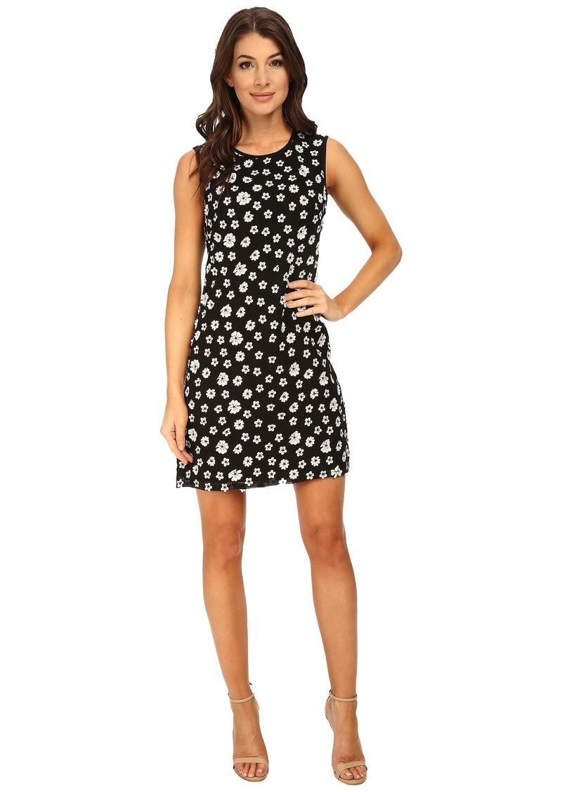 Adrianna Papell Embroidered Floral Chiffon Shift Dress