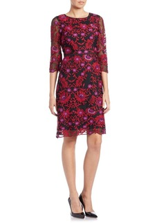 Adrianna Papell Embroidered Floral Dress