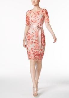 Adrianna Papell Embroidered Illusion Sheath Dress