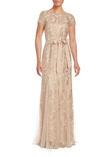 Adrianna Papell Embroidered Lace Gown