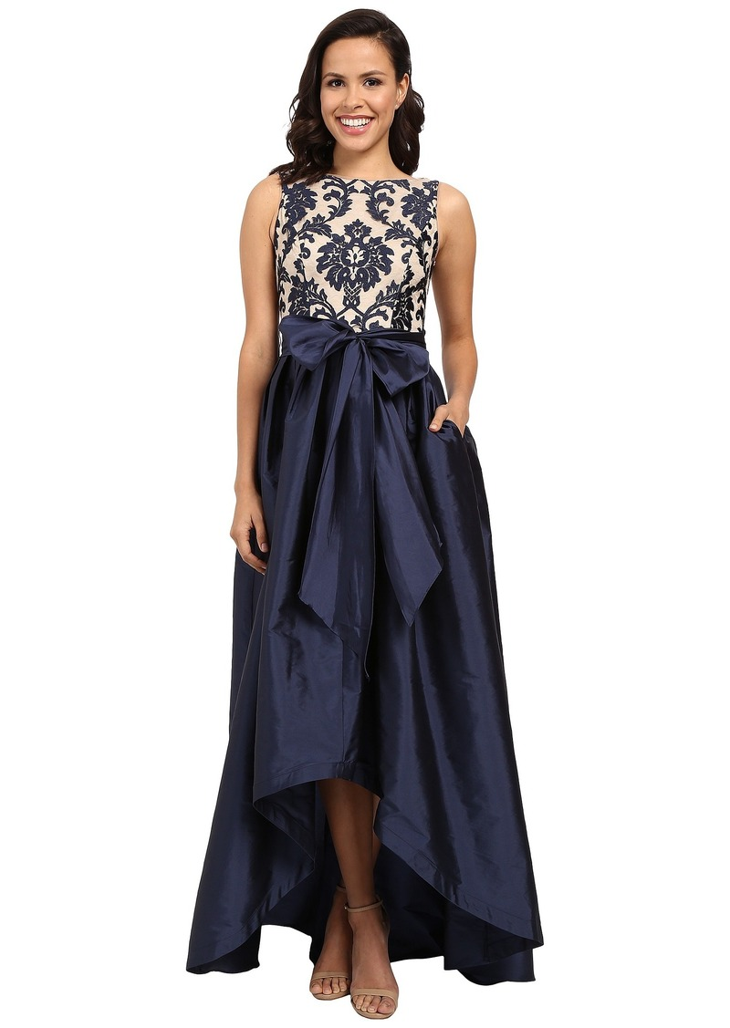 Adrianna Papell Embroidered Lace Taffeta Ball Gown