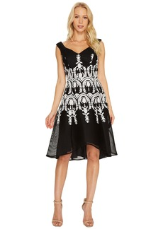 Adrianna Papell Embroidered Neoprene Fit and Flare Dress