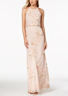 Adrianna Papell Embroidered Open-Back Halter Gown