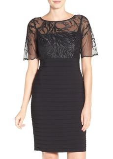 Adrianna Papell Embroidered Pleat Sheath Dress