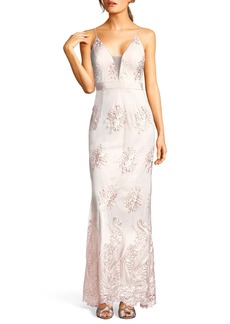 Adrianna Papell Embroidered Plunging Tulle Gown
