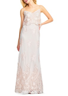 Adrianna Papell Embroidered Popover Tulle Gown