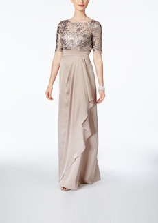 Adrianna Papell Embroidered Satin Gown