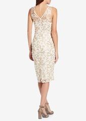 Adrianna Papell Embroidered Sleeveless Sheath Dress