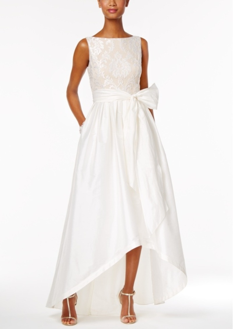 Adrianna Papell Adrianna Papell Embroidered Taffeta High-Low Gown ...