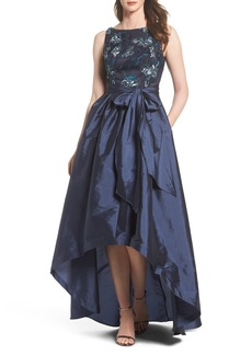 Adrianna Papell Embroidered Taffeta High/Low Gown