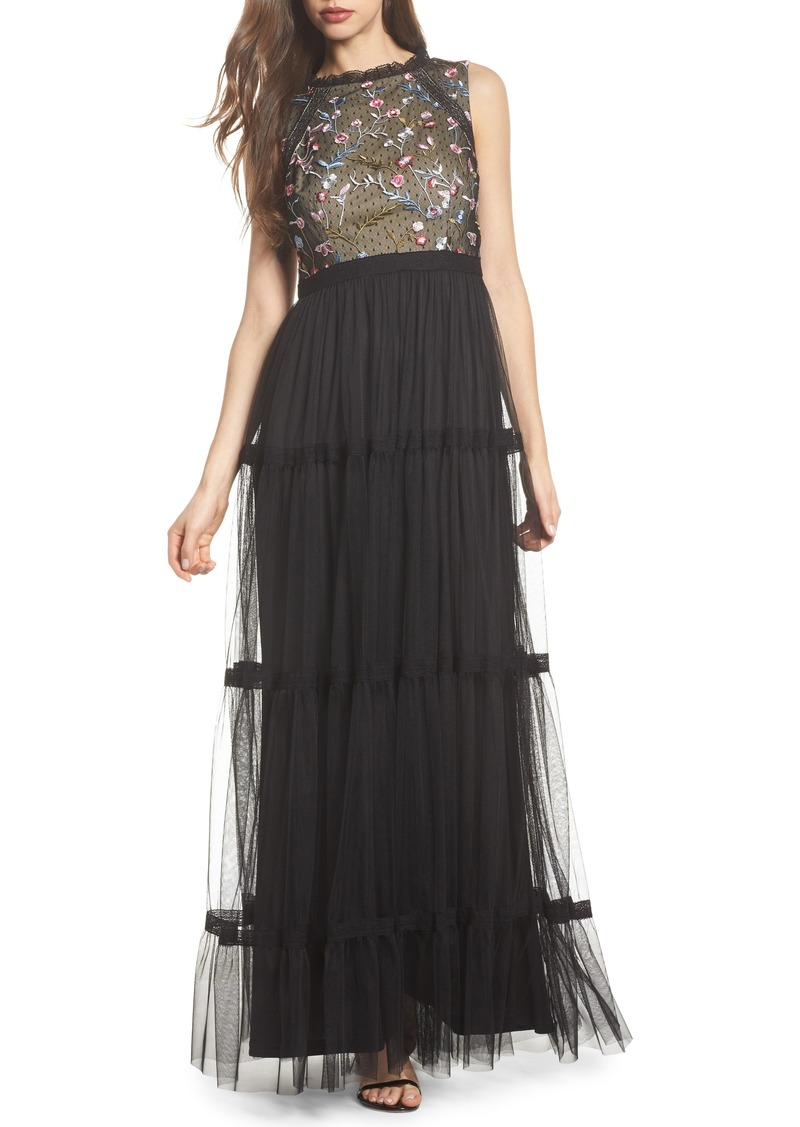 Adrianna Papell Adrianna Papell Embroidered Tiered Tulle Gown | Dresses