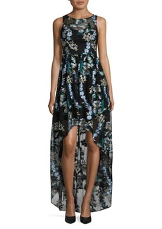Adrianna Papell Embroidered Tulle Hi-Lo Long Dress