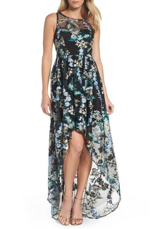 Adrianna Papell Embroidered Tulle High/Low Dress