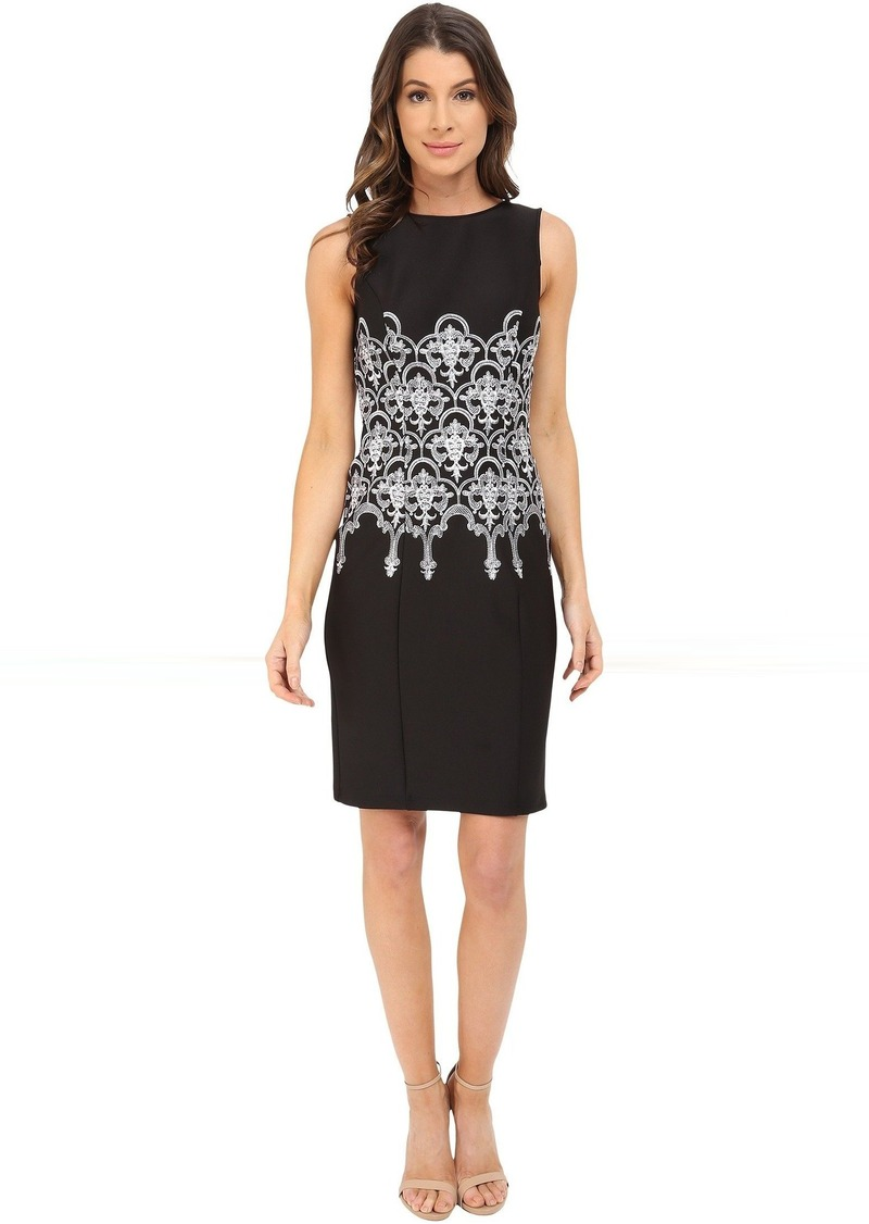 Adrianna Papell Embroidered Waist Sheath Dress