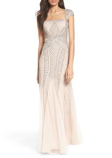 Adrianna Papell Envelope Embellished Mesh Gown (Regular & Petite)