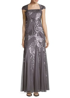 Adrianna Papell Envelope Sequined Gown