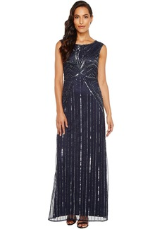 Adrianna Papell Extended Cap Sleeve Swirl Bead Gown