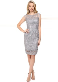 Adrianna Papell Extended Shoulder Sequin Lace Sheath