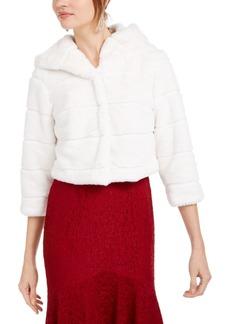 Adrianna Papell Faux-Fur Hooded Bolero Jacket
