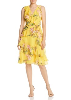 Adrianna Papell Faux-Wrap Printed Chiffon Dress