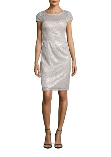 Adrianna Papell Feather Sequined Sheath Dress