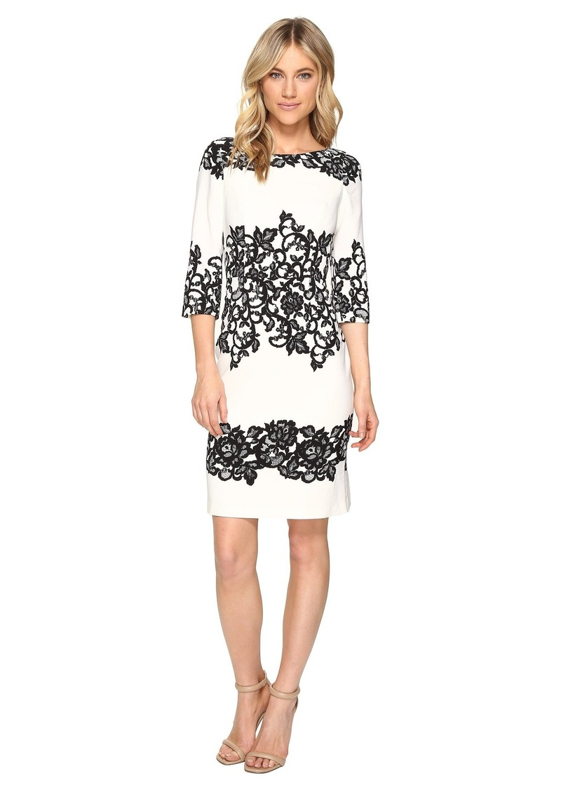 Adrianna Papell Fitted Placed Printed Lace