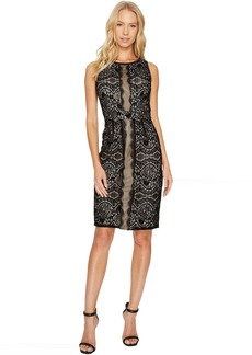 Adrianna Papell Flocked Lurex Lace Mixed Media Sheath
