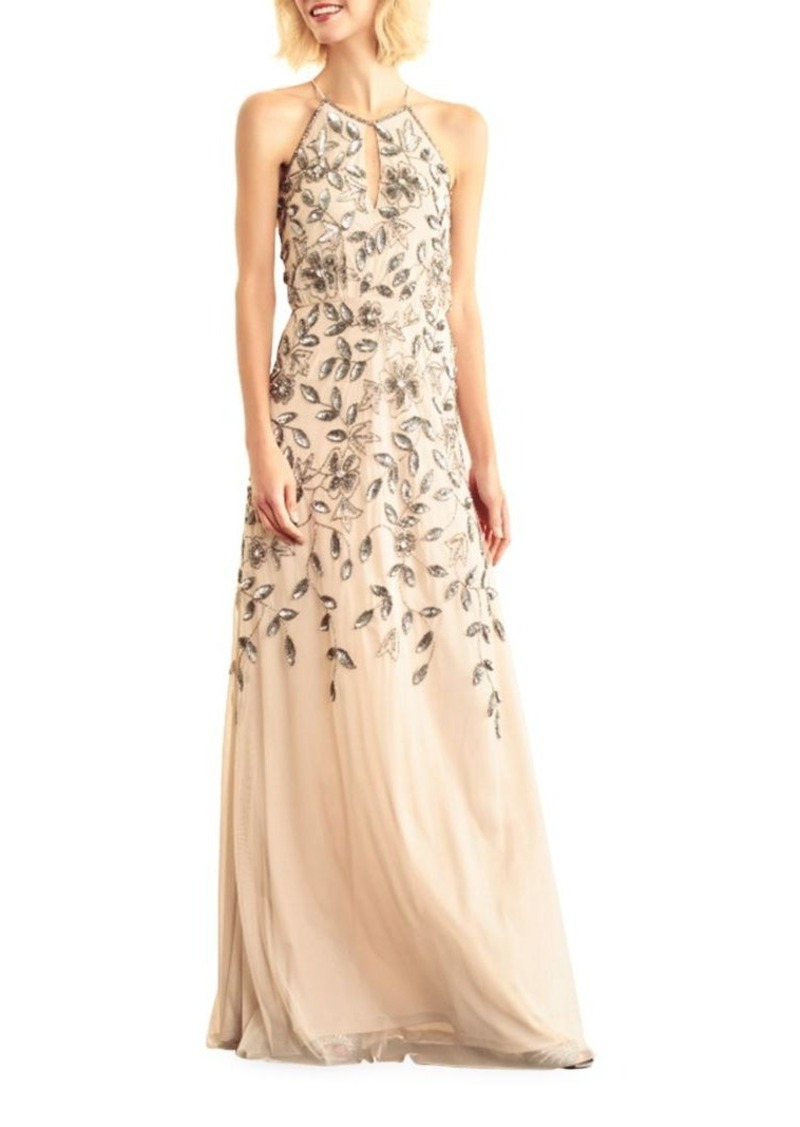 Adrianna Papell Adrianna Papell Floor-Length Halterneck Beaded Gown ...