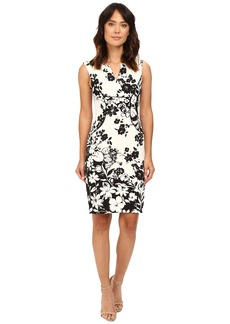 Adrianna Papell Floral and Line Printed Pleated Sheath Dress