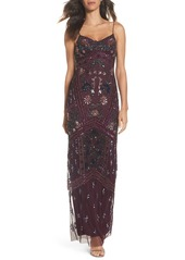 Adrianna Papell Floral Beaded Column Gown