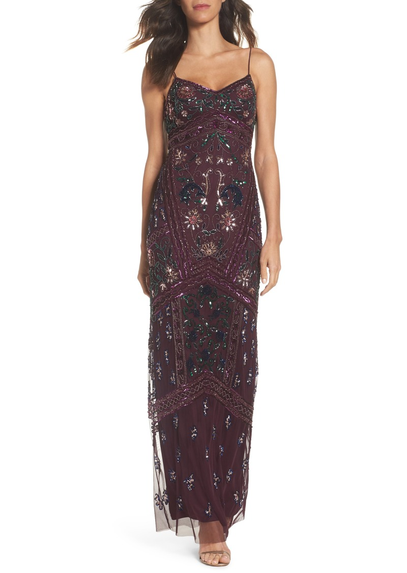 Adrianna Papell Adrianna Papell Floral Beaded Column Gown | Dresses