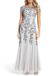 Adrianna Papell Floral Beaded Trumpet Gown (Regular & Petite)
