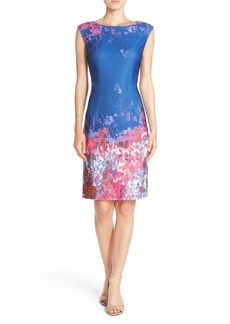 Adrianna Papell Floral Border Print Scuba Sheath Dress