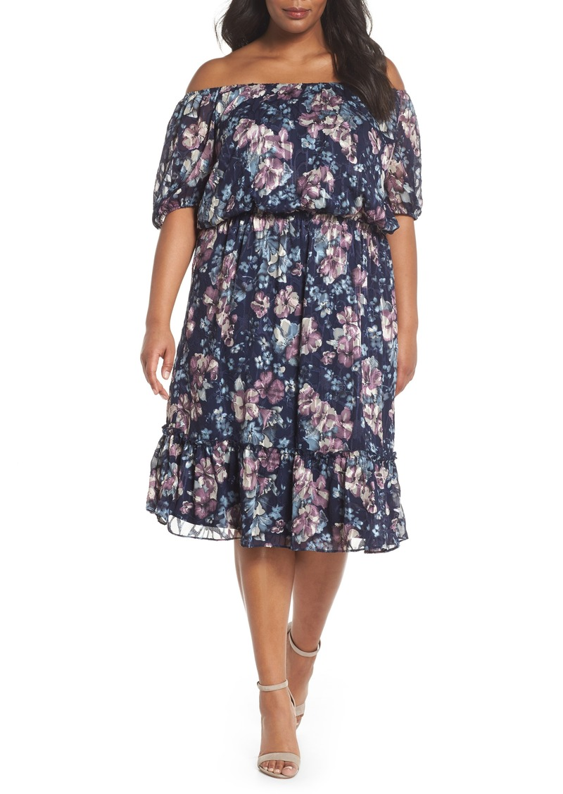 Adrianna Papell Adrianna Papell Floral Burnout Off the Shoulder ...