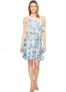 Adrianna Papell Floral Cascade Printed Chiffon Tiered Sleeveless Shift Dress