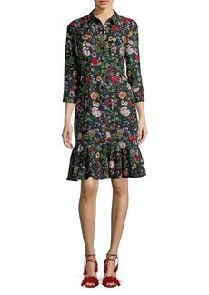 Adrianna Papell Floral Drop-Waist Shirt Dress