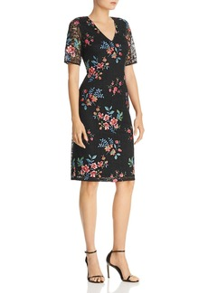Adrianna Papell Floral-Embroidered Dress
