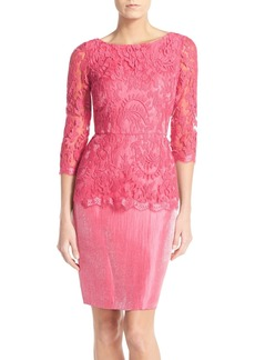 Adrianna Papell Floral Embroidered Peplum Sheath