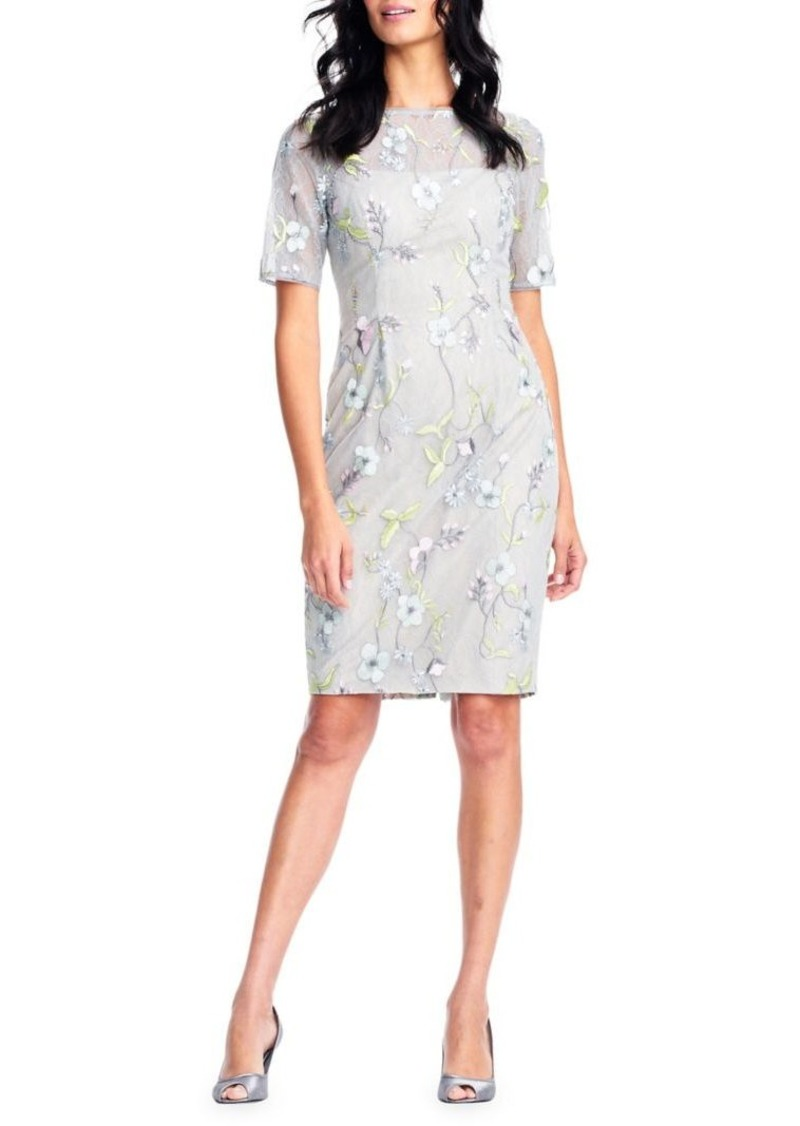 4f68771fbc3c Adrianna Papell Adrianna Papell Floral Embroidered Sheath Dress ...