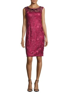 Adrianna Papell Floral Embroidered Sleeveless Sheath Dress